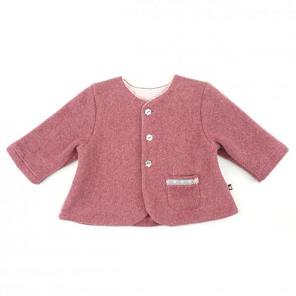 carlina - Romantische Babyjacke (kastanien-rot) mit Tasche