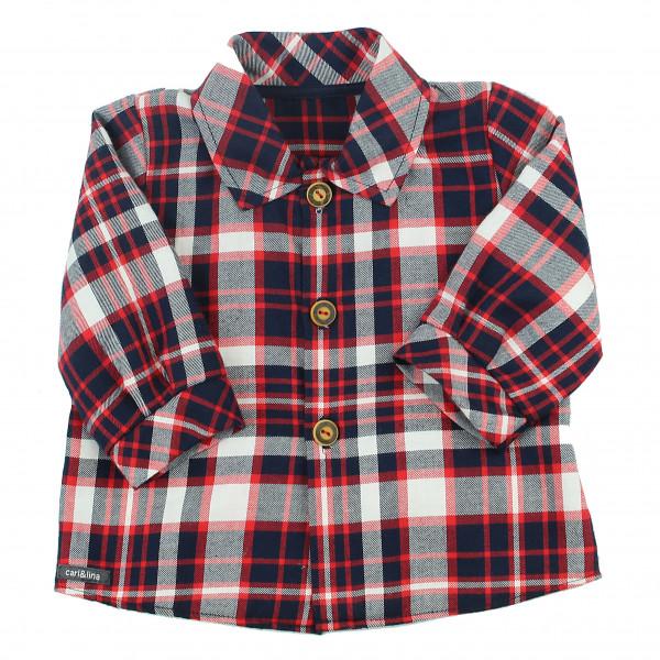 """carlina - Lässig, sportliches Babyhemd (rot-navy) im """"Holzfäller-Style"""""""